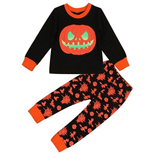 Puseky Kleinkind Jungen Mädchen Langarm Kürbis T-shirt und Hosen Halloween Kleidung Outfit (2-3 Jahre, Schwarz)