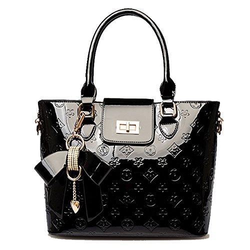Delle donne e di nuovo modo di goffratura Tote di alta qualità dellunità di elaborazione di spalla della ragazza sacchetto di svago Travel Bag inclinato borsa può contenere iPad Sumsang E Altri Table Black