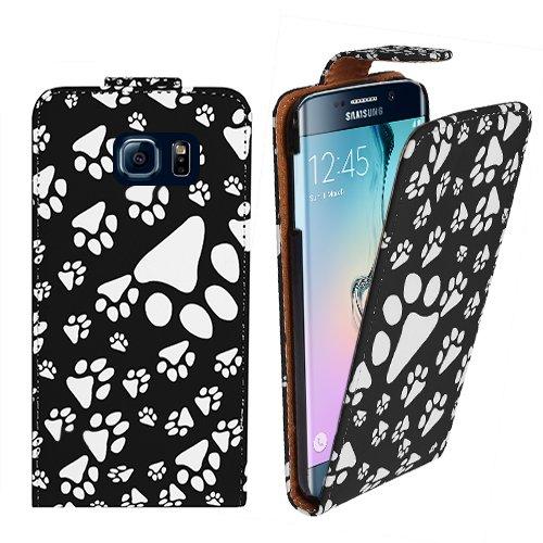 Xtra-Funky Reihe Samsung Galaxy S6 Edge Tier Hund Katzen-Tatzen-Fuß-Druck PU-Leder Schutzhülle - Schwarz (Handtasche Welpe, Handtasche Zubehör Hund,)