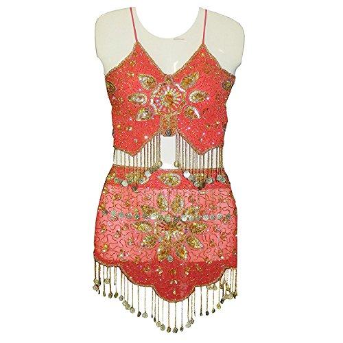 Set costume Danza del Ventre rosso con applicazioni luccicanti