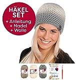 Dreifarbige Häkel-Mütze Ikoma im Häkel-Set von myboshi mit 3X 50g myboshi Wolle No.1 + Häkel-Anleitung + Selfmade Label in Farben (titangrau, Elfenbein, Schlamm, mit Häkelnadel)
