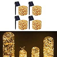 4 Packs 200LEDs Warm White Solar String Lights for Garden Patio Home Yard Party Wedding Christmas Indoor Outdoor, Waterproof Copper Wire Decorative Light