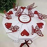 Hochzeitsgeschenk - Schachteltorte m. Schmetterlingen & Herzen - Butterfly WEISS-BORDEAUX - Geldgeschenk, Geschenkidee Hochzeit
