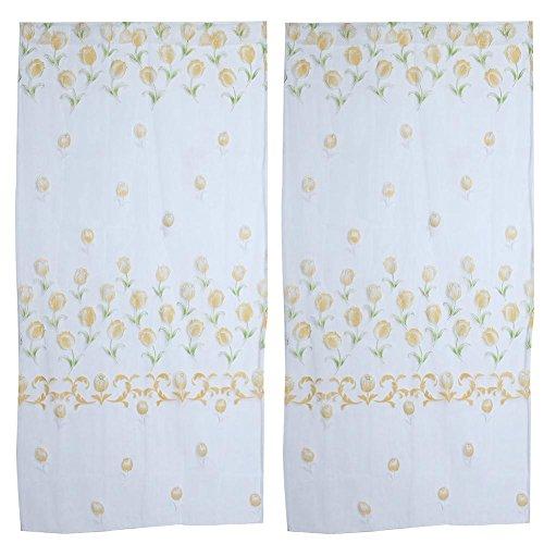Affeco poliestere tenda finestra in vetro temperato wedding camera da letto home decor (giallo)