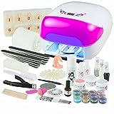 UV Gel Nagelstudio Starter Set Lichtschranke Pink-Nagelset mit Nailart, UV Lampe und UV Gel ideales Starterset