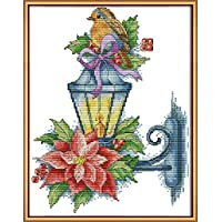 CaptainCrafts New Stamped Cross Stitch Kits Preprinted Pattern Counted Embroidery Starter Kits for Beginner Kids and Adults - The Bird on The lamp