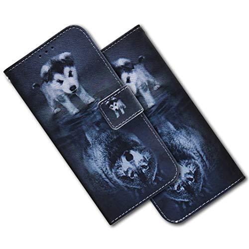 MRSTER Nokia 9 PureView Hülle Leder, Langlebig Leichtes Klassisches Design Flip Wallet Case PU-Leder Schutzhülle Brieftasche Handyhülle für Nokia 9 PureView. EF PU- Wolf Dog -