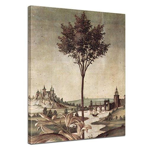 Bilderdepot24 Leinwandbild - Sandro Botticelli - Landschaft - Detail Verkündigung - 50x70cm einteilig - Alte Meister - Kunstdruck - Leinwandbilder - Bild auf Leinwand