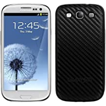 kwmobile Tapa para batería con aspecto de carbono para el Samsung Galaxy S3 / S3 Neo en color negro - complementa el diseño de su Samsung Galaxy S3 / S3 Neo