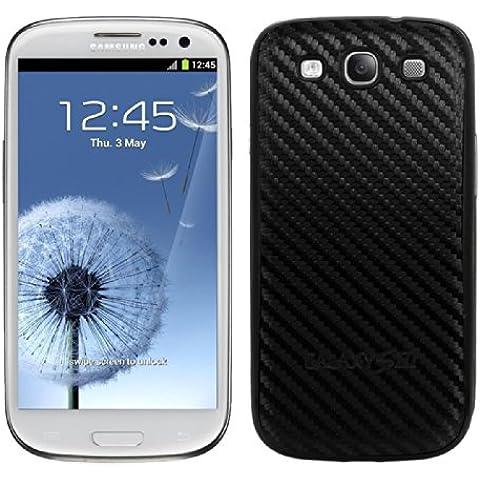 kwmobile Tapa para batería con aspecto de carbono para el Samsung Galaxy S3 i9300 / S3 Neo i9301 en color negro - complementa el diseño de su Samsung Galaxy S3 i9300 / S3 Neo i9301