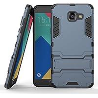 MOONCASE Galaxy A5 (2016) Coque, Combo Housse Hybride Etui Robuste Protection de Double Couche d'Armure Lourde Case avec Béquille pour Samsung Galaxy A5 2016 A510F Bleu Noir