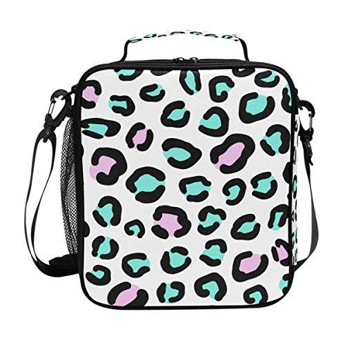 Skin Kit-grün (Orediy Isolierte Kühltasche Bento Lunchbag grün rosa Leopard Skin wiederverwendbare Lunch Kit Box für Reisen Picknick Schule Büro)