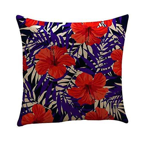 Federa da viaggio in cotone e lino,stampa floreale copricuscino quadrato chiusura con cerniera nascosta decorazioni per la casa 45cm*45cm(g,45cm*45cm)