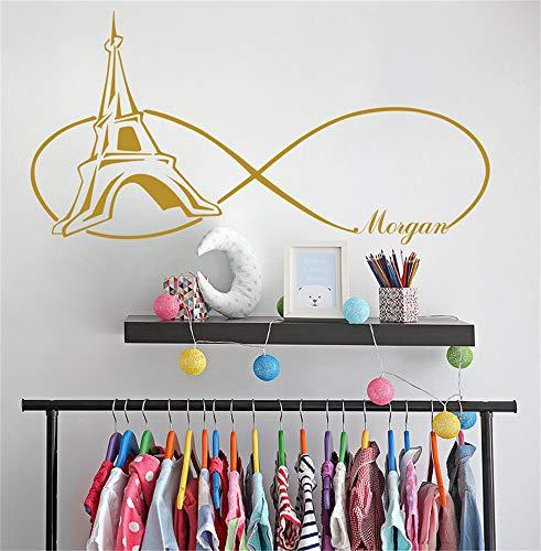 terling rosa Aufkleber für Mädchen Paris Themen Schlafzimmer personalisierte Aufkleber Mädchen Name Tower für Mädchen Zimmer ()