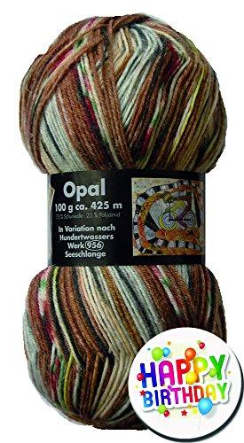 Opal Hundertwasser Edition Set économique avec pelote de laine de 100 g 75 % laine vierge/25 % polyamide Longueur env. 425 m/100 g Pour aiguilles de 2-3 mm Échantillonnage 10 x 10 cm 30 mailles/42 rangs Avec badge offert OPAL HUNDERTWASSER FarbNr. 1436 + 1 x BUTTON