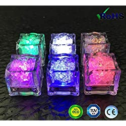 Hielo Luminoso, Luces LED submarinas intermitentes, , Luz del sensor de líquido(12 piezas) - Cubito de hielo LED con luz de luces, boda, cumpleaños, Navidad, despedida de soltero cálido artefacto