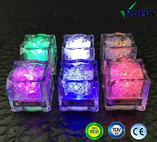 flammenlose Flüssigkeitssensoren - siebenfarbige LED Eiswürfel Lichter, Hochzeit, Geburtstag, Weihnachten, Junggesellenabschied warmes Artefakt ()
