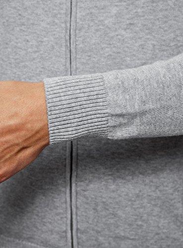 oodji Ultra Herren Cardigan mit Reißverschluss und Seitentaschen Grau (2300M)