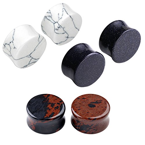 JSDDE 6pc 3 Paires Plug Ecarteur Double Faces Rond Flare Expandeur Turquoise Blanc + Bleu Sable + Acajou Obsidienne 6mm 8mm 10mm 12mm 14mm 16mm Taille=14mm
