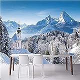 Liwenjun Tapete Wohnzimmer Wand 3D Fototapete Winter Schnee Wald Dekoration Benutzerdefinierte Wandbild