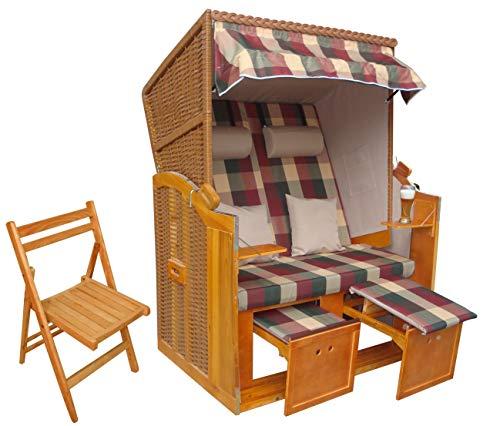 das wohnwerk Zweisitzer Strandkorb Ostsee de Luxe - Exklusiv für Amazon im Komplettset - mit Schutzhülle + 4 Kissen!