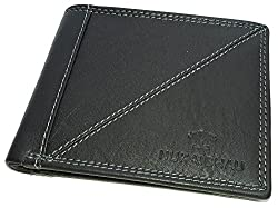 NUKAICHAU Black Single Fold Mens Leather Wallet