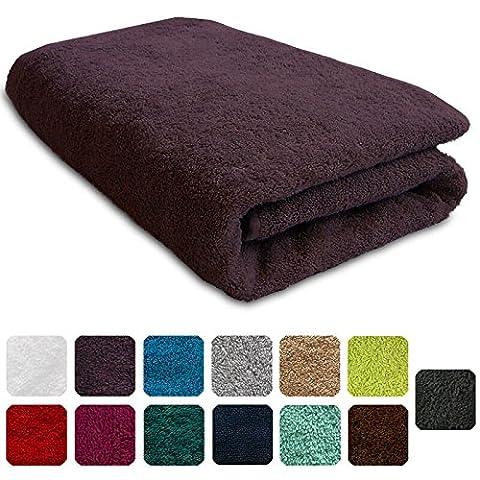 Lanudo® Luxus Duschtuch 600g/m² Pure Line 70x140 mit Bordüre. 100% feinste Frottier Baumwolle in höchster Qualität, Dusch-Handtuch, Badetuch, Badelaken. Farbe: Violett/Lila