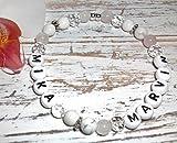 Mamaarmband Perlenarmband mit Namen weiß- rosé Howlith, Rosenquarz