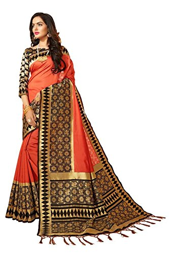 Expert E-Commerce Services Women's Banarasi Silk Saree with Unstitched Blouse (HARIRATNA-28786, Coral)