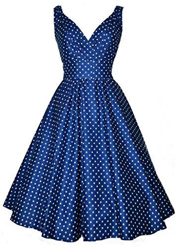 Eyekepper 1950s Vintage Frauen Polka Punkt mit V-Ausschnitt Schwingen Abendkleid Blau