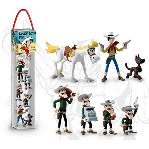 Plastoy 70387 - Tubo Lucky Luke de 7 Figurines, Unisexe Enfant