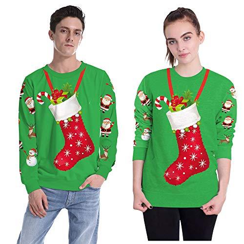 FRAUIT Liebhaber Mode Weihnachten Socke 3D Drucken Party Langarm Top Sweatshirt hässliches Weihnachtsstrickjacke-Frauen-Sweatshirt Christmas Unisex Weihnachtspullover Sweater