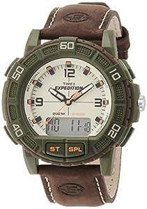 Timex Herren-Armbanduhr XL Expedition Double Shock Analog - Digital Quarz Leder T49969