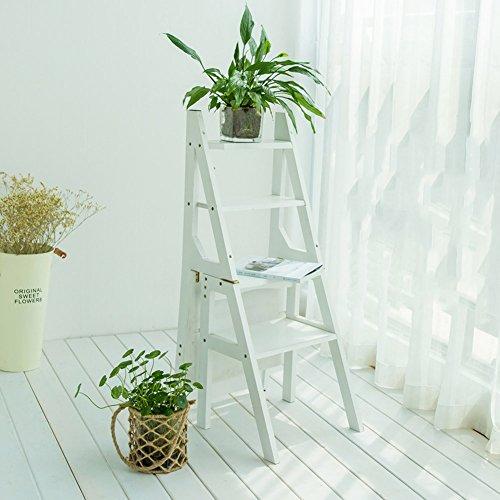 ZHDC® Support de fleur multifonction Ménage échelle pliante Chaise vintage Quatre étapes échelle Thicken bambou escabeau intérieur Ascend échelle 90cm haute Stable fort espace de sauvegarde ( Couleur : #2 )
