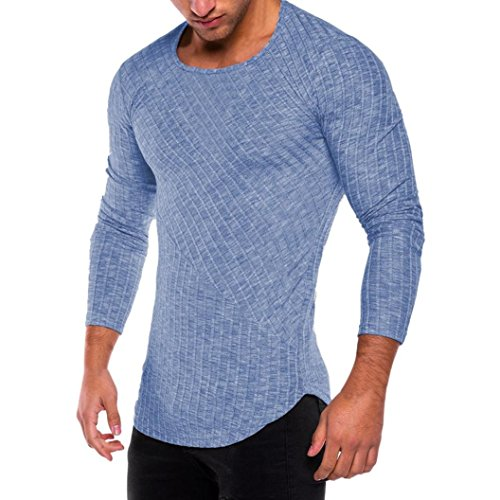 FEITONG Herren Slim fit T-Shirt Crew Rundhals Lange Ärmel Muskel Shirt Casual Tops Oberteil Sweatshirt Tee Einfarbig (XXL, Blau) (Vintage-jersey Vintage California)