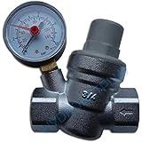 """La presión del agua válvula de reducción de 3/4 """"hembra de 22 mm de tubería con manómetro"""