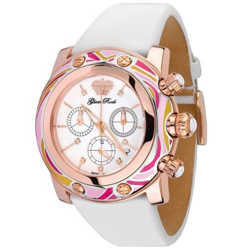 Glam Rock GR10510 - Reloj cronógrafo de Cuarzo para Mujer con Correa de Tela, Color Blanco