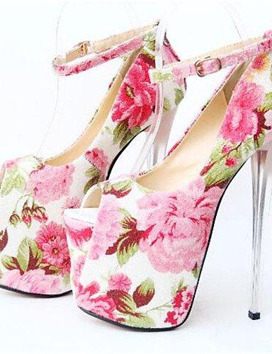 WSS 2016 Chaussures Femme-Habillé-Rose-Talon Aiguille-Bout Ouvert-Talons-Similicuir pink-us10.5 / eu42 / uk8.5 / cn43