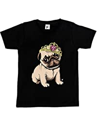 Fancy A Snuggle Princess Pug Puppy Wearing Tiara With Big Gem Kids Girls T-Shirt