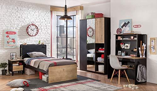 Dafnedesign.com – cameretta completa per ragazzo o bambino - comprende: tenda a due cadute , letto , materasso , coperta , comodino , scrivania , sedia , armadio , lampadario , tappeto - una camera da letto dal design moderno - [serie: dafne-nero] - (df11)