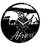 Horloge Murale en Vinyle Cadeau Fait Main Décorations Pour la Maison Home Office Voyage en Afrique Safari Animaux Sauvages