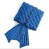 PIXNOR Meerjungfrau Decke Strickmuster Decke für Erwachsene Jugendliche (dunkelblau)