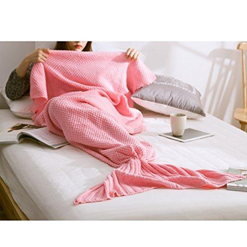 Gestrickt Meerjungfrau Decke Sofadecke Schlafsack Mermaid Blanket Kostüm Pink 70*140cm
