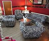Casa Padrino Designer Chesterfield Wohnzimmer Garnitur - Sofa + 3 Sessel Zebra - Luxus Barock Möbel
