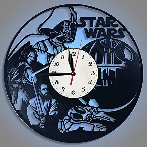Yushufang Star Wars Schallplatte Wanduhr, Led Nachtlicht 12 Zoll Retro Wanduhr Batteriebetriebene Dekorative Stumm Dekorative Uhr für Freund Geschenk - Bad-fan Mit Ruhiges Licht