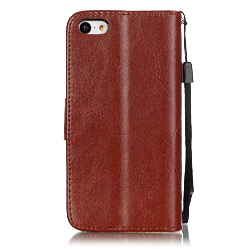 iPhone Case Cover IPhone 5C Case, Premium PU Housse en cuir Housse Folio Flip Stand Case Embossing Fleur pour iPhone 5C ( Color : Red , Size : IPhone 5C ) Brown