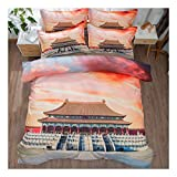CSYPYLE Bettwäsche Set Heimtextilien Kreative Chinesischen Stil Architekturpalast Muster Weiche Bequeme Bettbezug Bettlaken Schlafzimmer Bettwäsche Kit, 1,5 Mt