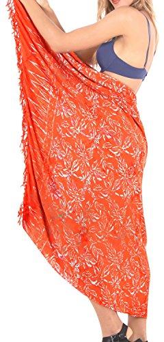 LA LEELA Bademode Wrap Badeanzug Vertuschungsarong Pool Abnutzung der Frauen Badebekleidung einpacken Badeanzug Zeitkleidung Orange - Bademode Wrap