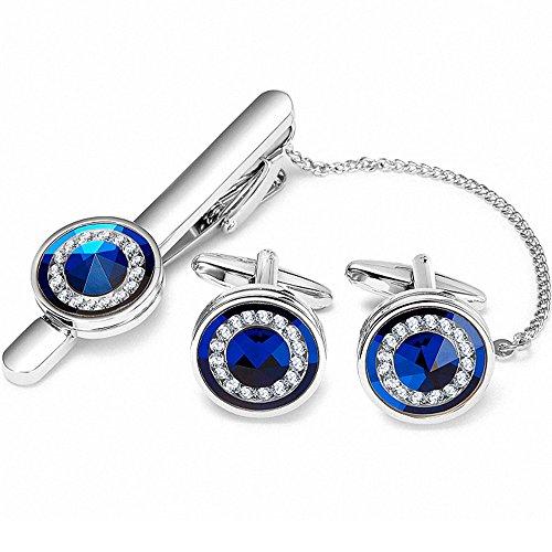BagTu Blue Crystal Tie Clip Manschettenknopf Set in schwarzer Geschenkbox (Hochzeit Usher In Eine)