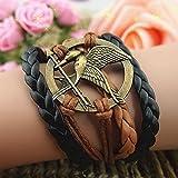 Hunger Games Inspired Mockingjay Bird coffe Leather black Rope Braided Rope Woven Bracelet Film Replica